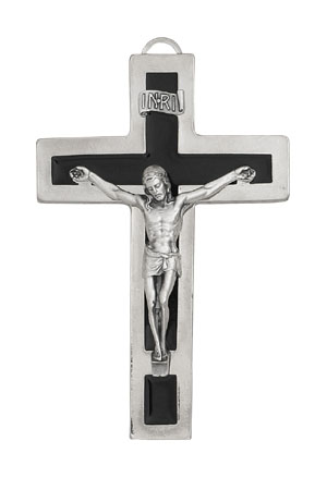 Silver Hanging Cross with Black Inlay 5 inch