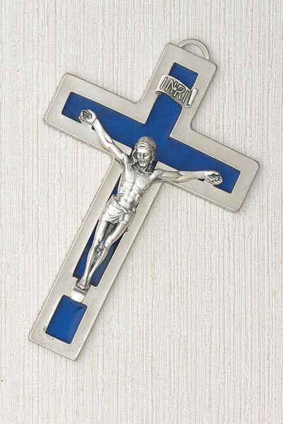Silver Hanging Cross with Blue Inlay 5 inch