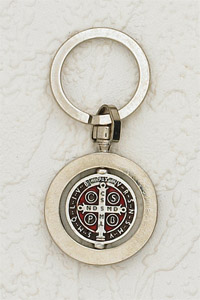 "6-Pack - 1-1/4"" St Benedict Rotating Enameled Key Ring- Silver/Brown"