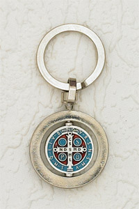 6-Pack - 1- 1/4 Inch St Benedict Rotating Enameled Keyring- Light Blue