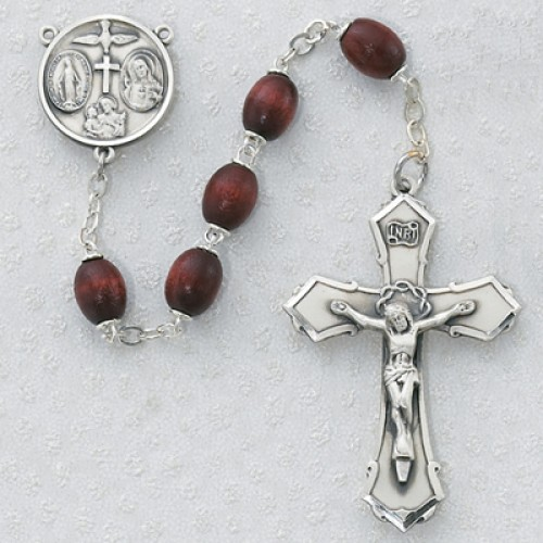 Sterling Silver 6X8MM Brown Wood Rosary