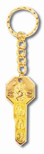 10-Pack - Gold Key On Split Ring
