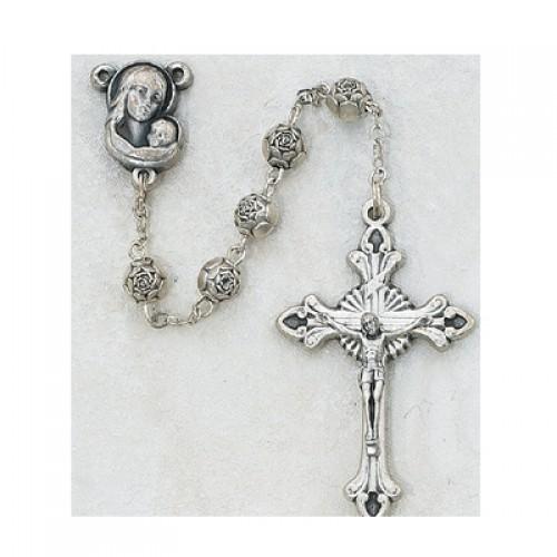 5MM Silver Rosebud Rosary