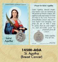 25-Pack - Healing Saints Prayer Card with Pendant - Saint Agatha- Patron Saint of Breast Cancer