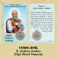 25-Pack - Healing Saints Prayer Card with Pendant - Saint Andrew Avelino- Patron Saint of Strokes and High Blood Pressure