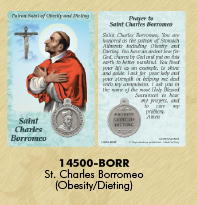 25-Pack - Healing Saints Prayer Card with Pendant - Saint Charles Borromeo- Patron Saint of Obesity and Dieting