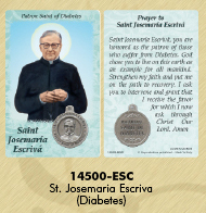 25-Pack - Healing Saints Prayer Card with Pendant - Saint Josemaria Escriva- Patron Saint of Diabetes