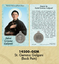 25-Pack - Healing Saints Prayer Card with Pendant - Saint Gemma Galgani- Patron Saint of Back Pain
