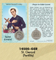 25-Pack - Healing Saints Prayer Card with Pendant - Saint Gerard- Patron Saint of Fertility