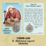 25-Pack - Healing Saints Prayer Card with Pendant - Saint Alphonsus Ligouri - Patron Saint of Arthritis