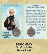 25-Pack - Healing Saints Prayer Card with Pendant - Saint Maximilian Kolbe- Patron Saint of Addictions