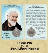 25-Pack - Healing Saints Prayer Card with Pendant - Saint Pio of Pietrelcina- Patron Saint of Healing, Suffering and Pain