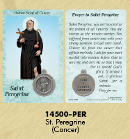 25-Pack - Healing Saints Prayer Card with Pendant - Saint Peregrine - Patron Saint of Cancer