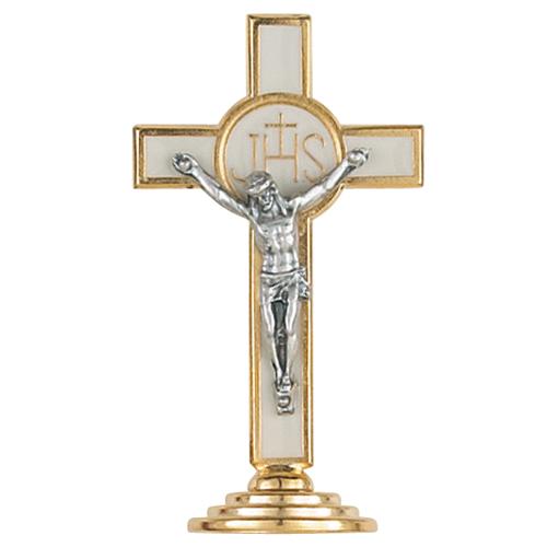 """3 1/2"""" White Standing Crucifix"""