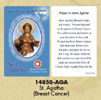 12-Pack - Healing Saints Relic Cards - Saint Agatha, Patron Saint of Breast Cancer