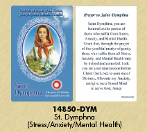 12-Pack - Healing Saints Relic Cards - Saint Dymphna, Patron Saint of Stress, Anxiety and Mental Disorders