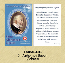 12-Pack - Healing Saints Relic Cards - Saint Alphonsus Ligouri, Patron Saint of Arthritis