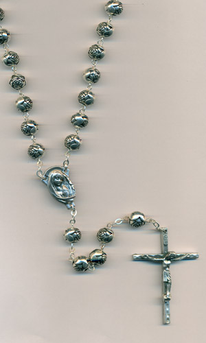 8mm Silver Rose Bead Rosary