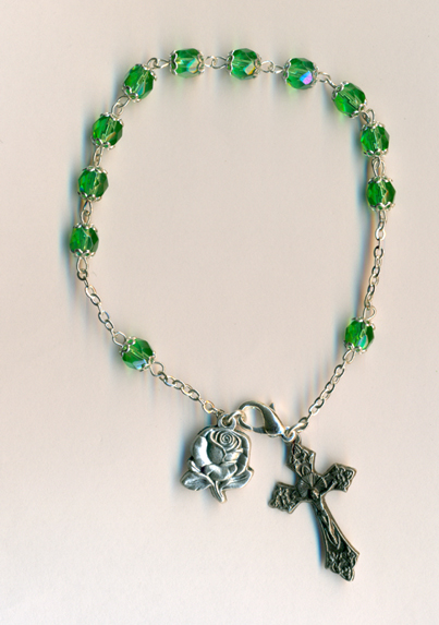 3-Pack - 6mm Rosary Bracelet- Green- Double Capped