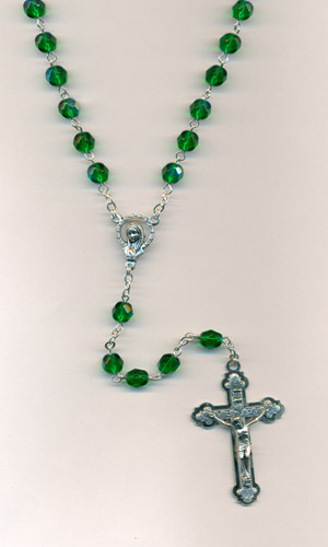 6mm Green Glass Rosary