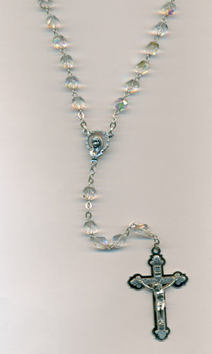6mm Clear Glass Rosary with triple layer Crucifix Boxed