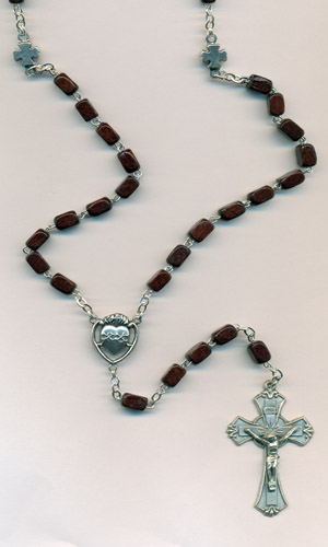 7mm Wood Rosary with sacred heart center and crosses for the our father beads Boxed