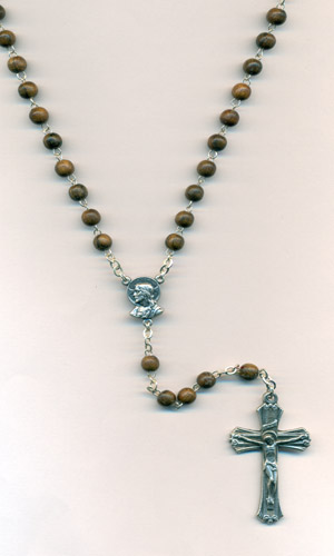 5mm Wood Young Men's Rosary with Sacred Heart Center and Crucifix Boxed