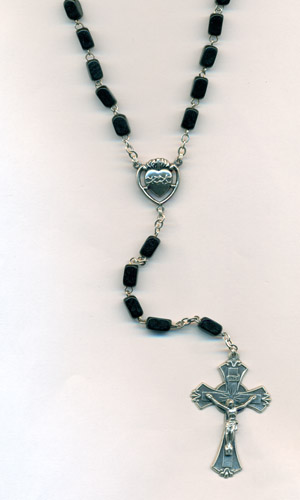 8mm Black wood rosary with Sacred Heart center and Crucifix