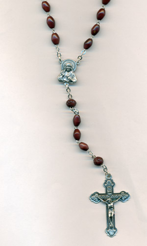 8mm Genuine Cocoa Bead wood rosary with Sacred Heart center and crucifix