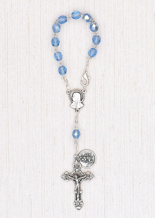 4-Pack - 6mm Glass Sapphire Auto Rosary with Premium Centerpiece and Crucifix with St Christopher Pendant