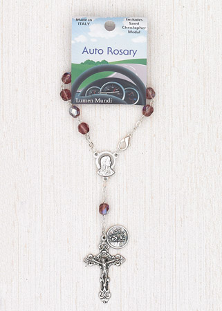 4-Pack - 6mm Glass Amethyst Auto Rosary with Premium Centerpiece and Crucifix with St Christopher Pendant