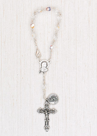 4-Pack - 6mm Glass Clear Auto Rosary with Premium Centerpiece and Crucifix with St Christopher Pendant