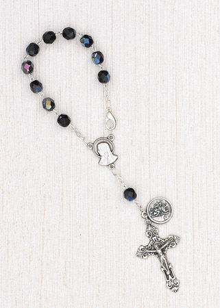 4-Pack - 6mm Glass Black Auto Rosary with Premium Centerpiece and Crucifix with St Christopher Pendant