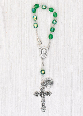 4-Pack - 6mm Glass Green Auto Rosary with Premium Centerpiece and Crucifix with St Christopher Pendant