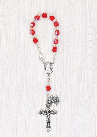 4-Pack - 6mm Glass Red Auto Rosary with Premium Centerpiece and Crucifix with St Christopher Pendant