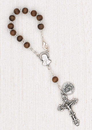 4-Pack - 6mm Wood Auto Rosary with Premium Centerpiece and Crucifix with St Christopher Pendant