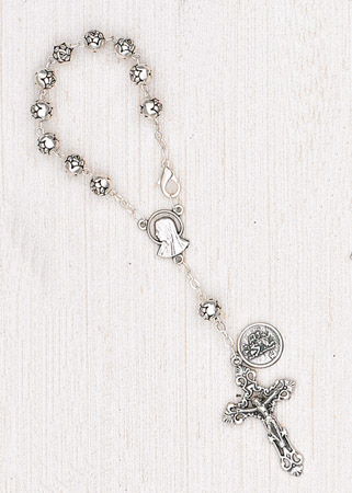 4-Pack - 6mm Silver Rose Auto Rosary with Premium Centerpiece and Crucifix with St Christopher Pendant