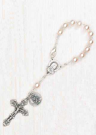 4-Pack - 6mm Glass Pearl Auto Rosary with Premium Centerpiece and Crucifix with St Christopher Pendant