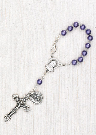 4-Pack - 6mm Purple Pearl Auto Rosary with Premium Centerpiece and Crucifix with St Christopher Pendant