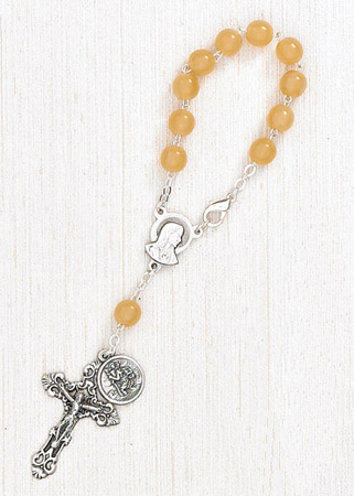 4-Pack - 6mm Yellow Auto Rosary with Premium Centerpiece and Crucifix with St Christopher Pendant