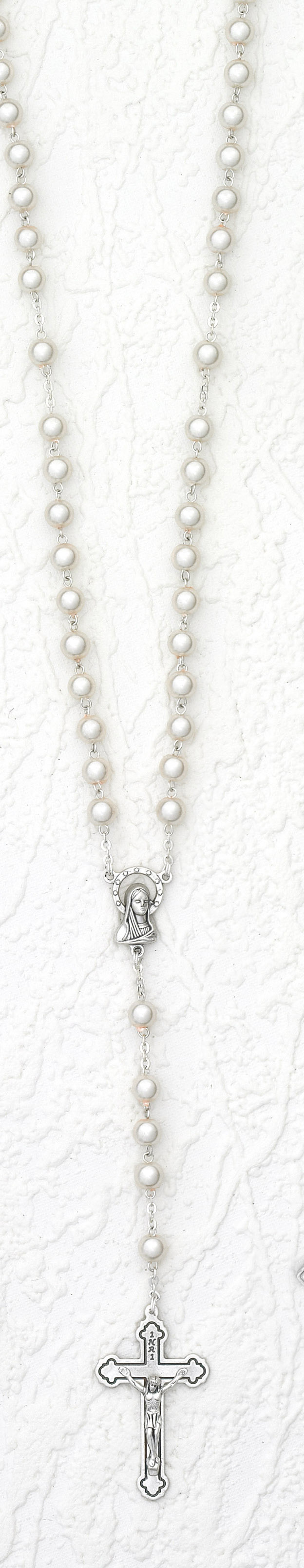 8mm Pearl Rosary with Round Beads Boxed