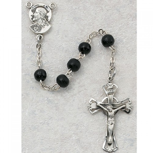 Sterling Silver 5MM Black Wood Rosary