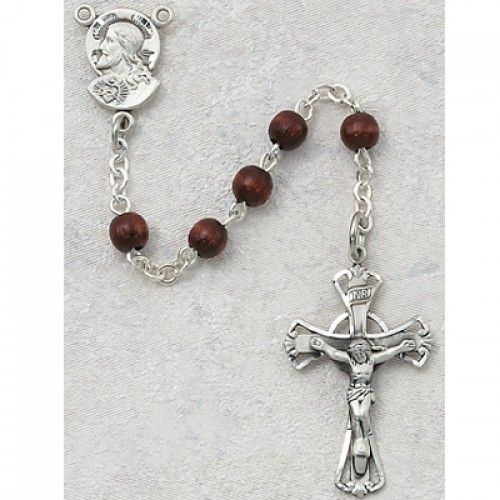 Sterling Silver 5MM Brown Wood Rosary