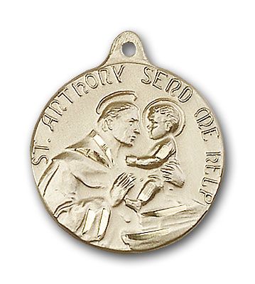 14K Gold St. Anthony Pendant - Engravable