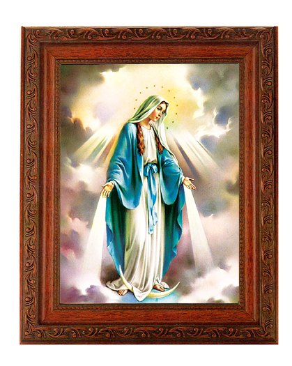 "Our Lady Of Grace In Ornate Wood Frame 10X12"" 8X10 Print"