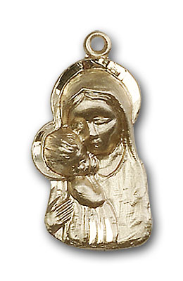 14K Gold Madonna & Child Pendant - Engravable