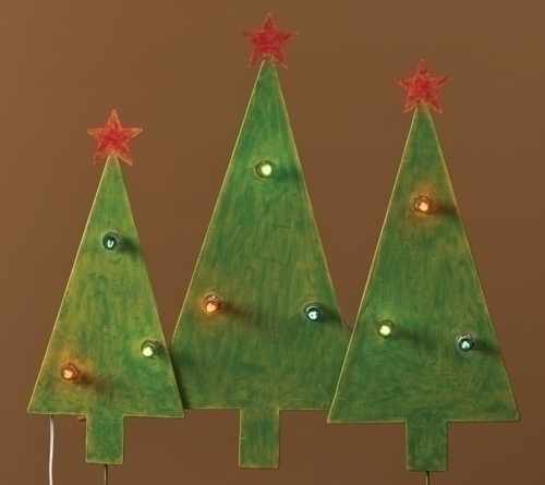 30.25-inch Christmas 3-Tree Yard Art