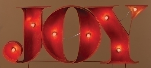 45-inch Lighted Joy Sign Stake Yardart