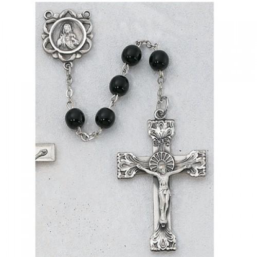 Sterling Silver 6MM Genuine Black Onyx Rosary
