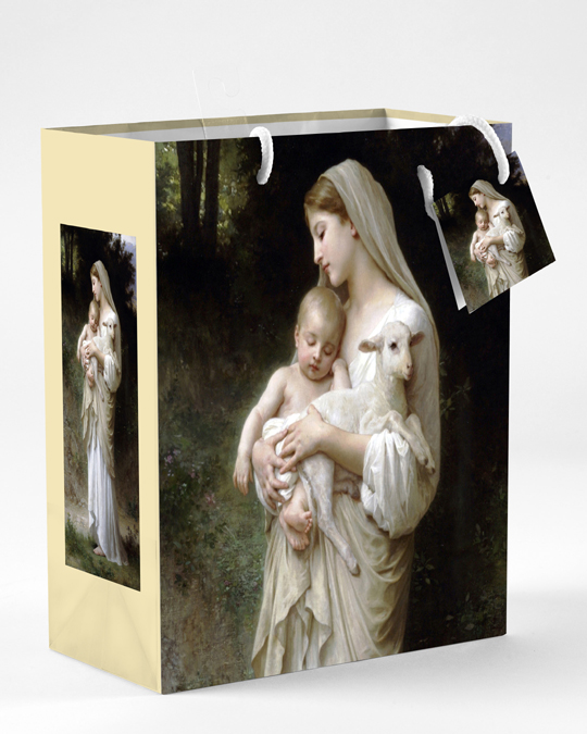 12-Pack - Small Mother and Child Bouguereau L'Innocence Gift Bag